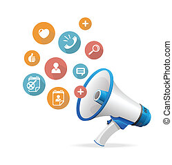 Vector flat design concept icons and megaphone