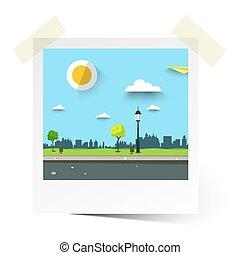 Vector Flat Design Empty Park Illustration. Landscape in Photo Frame.