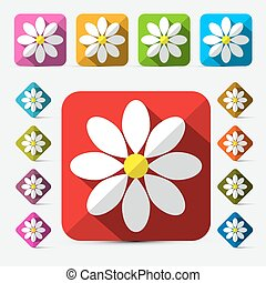 Vector Flat Design Flowers Set
