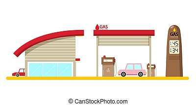 Vector Flat Design Gas Station with Cars Isolated on White Background.