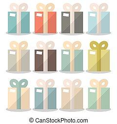 Vector Flat Design Gift Boxes Set