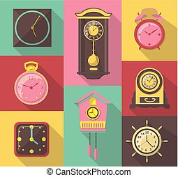 vector flat design icon set of vintage wall clocks