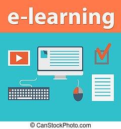 vector flat design illustration concept for online education