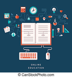flat design illustration concept for online education