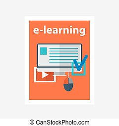 vector flat design illustration concept for online education
