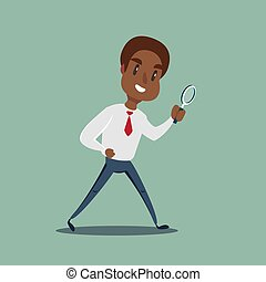 Manager character looking through a magnifying glass.