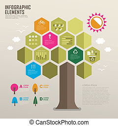 flat design infographic with tree element