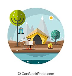 Vector Flat Design Landscape with Man in Camp Reading Newspapers in Park in front of the Tent. High Mountains on Background.
