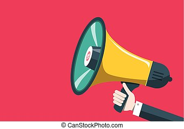 Vector Flat Design Megaphone Icon with Human Hand on Red Background. Loudspeaker Symbol.