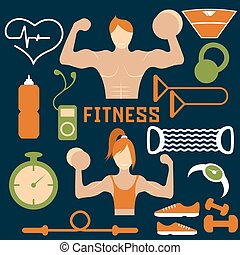 Vector flat design of fitness with guy ,girl and web icons of fitness elements