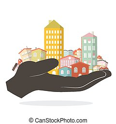 Vector Flat Design Paper Houses - Buildings Set - City or Town in Human Hand