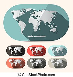 Vector Flat Design Paper World Map Set
