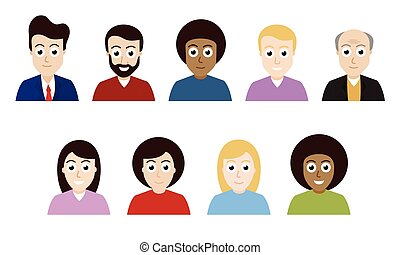 Vector flat design people avatars isolated on background