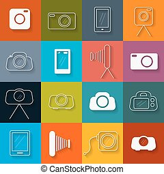 Vector Flat Design Photography Icons Set