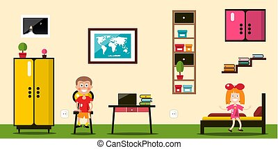 Vector Flat Design Room. Boy and Girl Inside House.