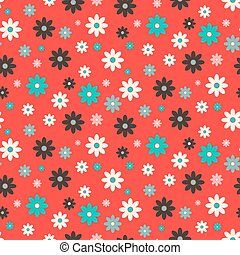 Vector Flat Design Seamless Retro Flowers on Red Background