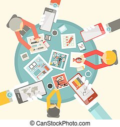 Vector Flat Design Top View Business Meeting with Table and Technology Items