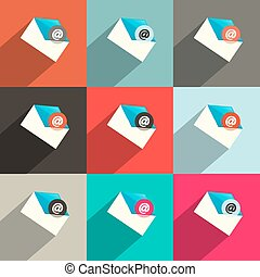 Vector Flat Design UI Email Icons Set
