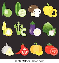 Vector Flat Design Vegetables icons