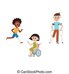 vector flat disabled people set isolated - vector flat...