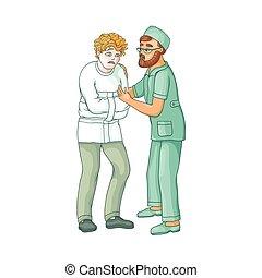 vector flat doctor hugging mental patient