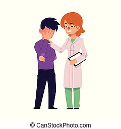 vector flat doctor touching mental patient