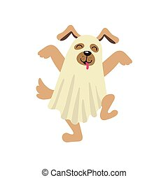 vector flat dog dressed up in bedsheet like ghost