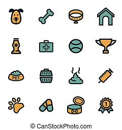Vector flat dog icons set