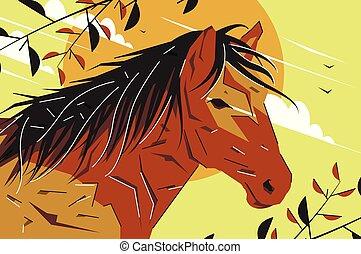 Vector flat drawn stylized horse illustration