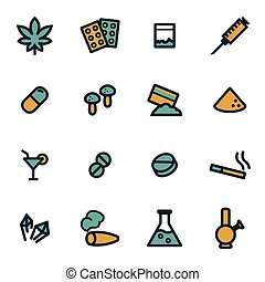 Vector flat drugs icons set