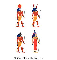 vector flat egypt god set - vector flat egypt gods, goddess...
