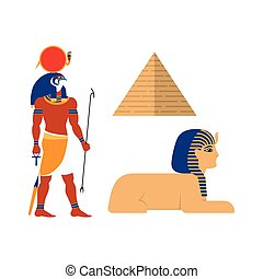 vector flat egypt mythical symbols set