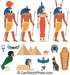 vector flat egypt symbols set - vector flat egypt gods, and...