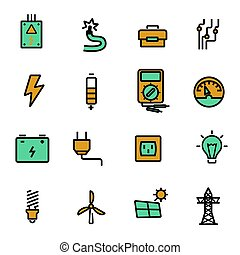 Vector flat electricity icons set