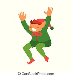 vector flat elf boy dancing or jumping isolated
