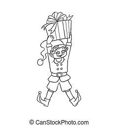 vector flat elf boy holding present box