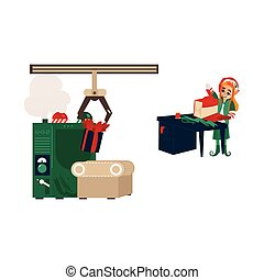 vector flat elf girl wrapping present box