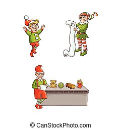 vector flat elves boy, girl christmas scenes set