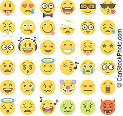 vector flat emoticons set 2