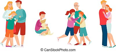 Vector flat family characters hugging icon set
