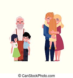 Vector flat family characters hugging set