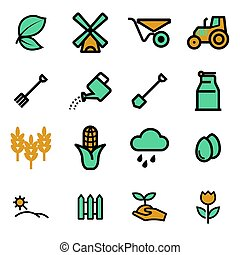 Vector flat farming icons set