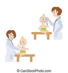 vector flat female doctor infant baby scene set