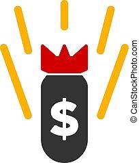 Vector Flat Financial Crisis Bomb Icon - Vector financial...
