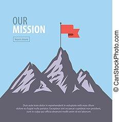 Vector flat flag on mountain. Success illustration. Goal...