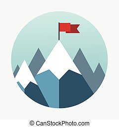 Vector flat flag on mountain.