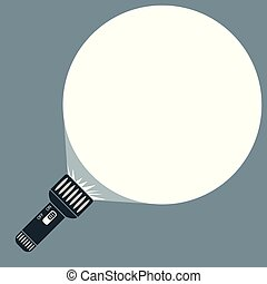 Vector flat flashlight with a beam of light and space for your text.