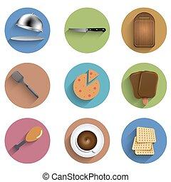 Vector flat food circle icon set. Eps10