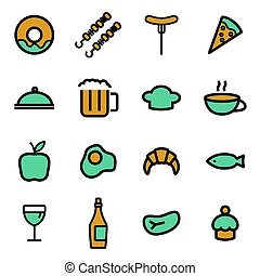 Vector flat food icons set