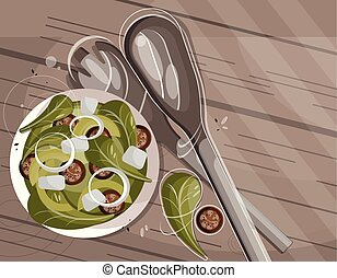 Vector flat food illustration from above